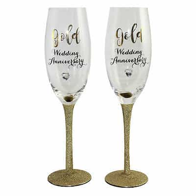 50th Golden Glitter Wedding Anniversary Gift Champagne Flutes