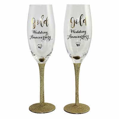 50th Golden Glitter Wedding Anniversary Gift Champagne Flutes