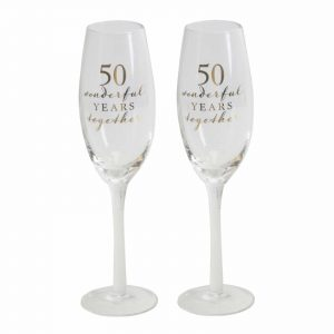 Set Of 2 Champagne Glasses 50th Golden Anniversary