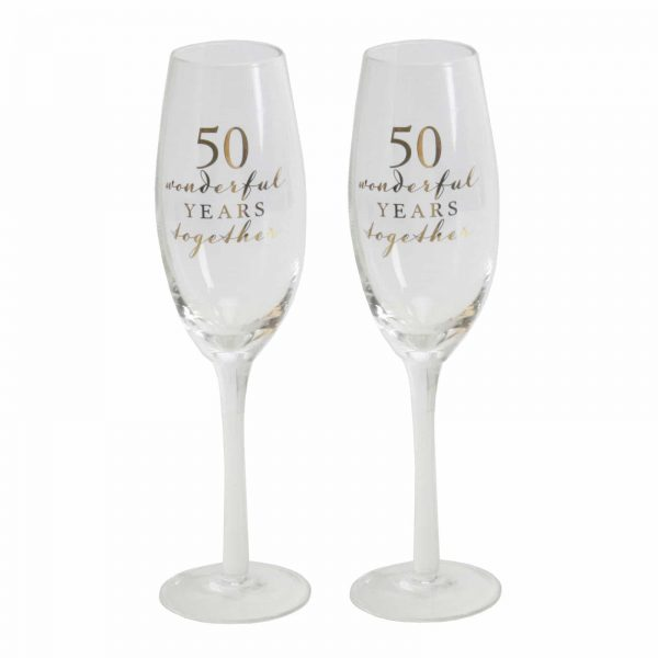 Set Of 2 Champagne Glasses 50th Golden Anniversary