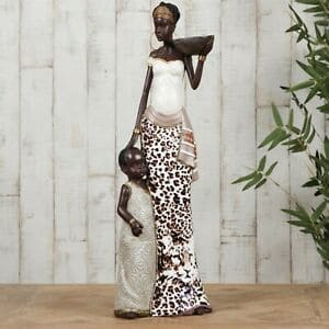 Masai African Lady Carrying A Basket With Child 41cm Figurine