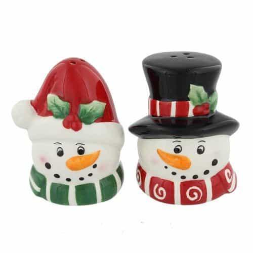 Christmas Snowman Mr & Mrs Cruet Set Salt & Pepper