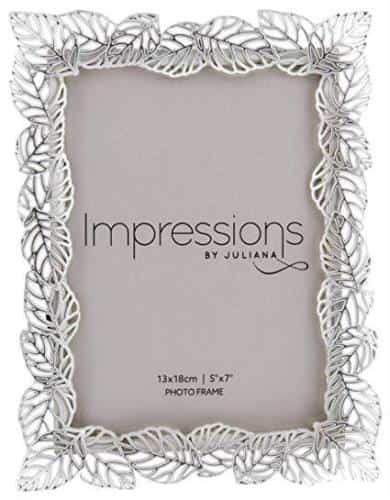 Silver plated leaf design photo frame