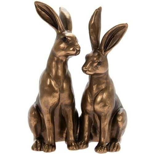 Leonardo Bronzed Resin Sitting Hares