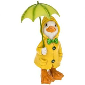 PUDDLE DUCK WITH UMBRELLA FIGURINE