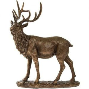 Large Bronze Effect Stag Figurine