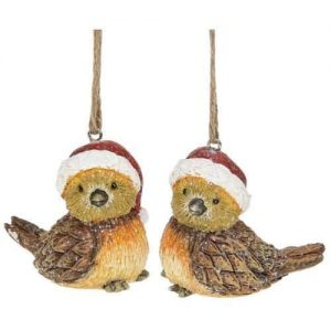 CHRISTMAS WOODLAND ROBINS hanging decorations