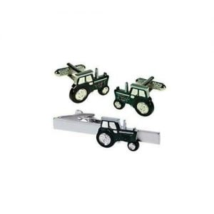 Green Tractor Cufflinks and Matching Tie Bar Clip