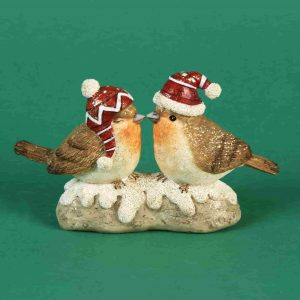 Christmas Pair of Robins with Santa Hat
