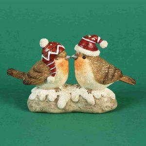 Christmas Pair of Robins with Santa Hat
