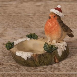 Christmas ROBIN FIGURINE TEALIGHT HOLDER