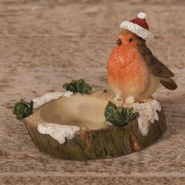 Christmas ROBIN FIGURINE TEALIGHT HOLDER