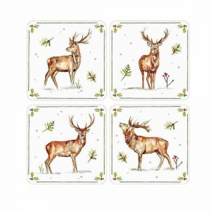 Winter Christmas Stags Print Coasters - Set of 4