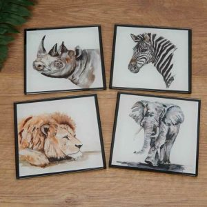 MEG HAWKINS SET OF 4 ANIMAL COASTERS