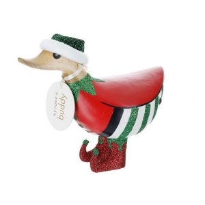 Christmas DCUK Wooden Red Elf Ducky