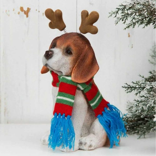 Christmas Beagle Dog Figurine
