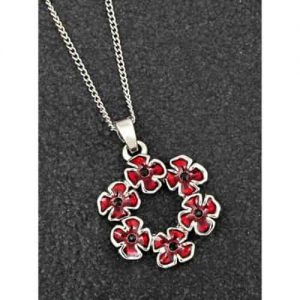 Equilibrium Silver Plated Circle Of Poppy Flower Necklace