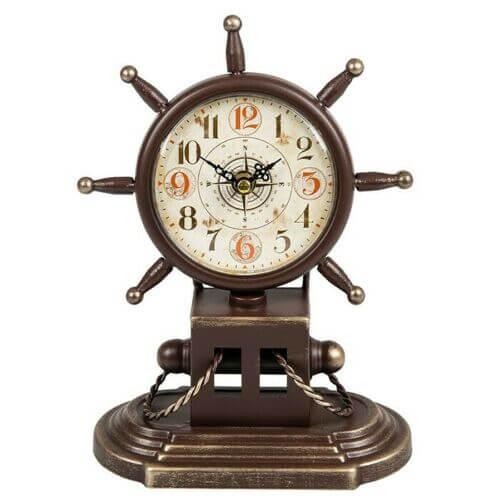 Past times ship wheel clock