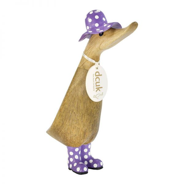 DCUK Wooden Duckling Purple Spotted Hat & Welly
